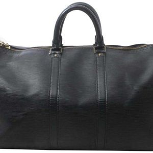 Louis Vuitton Black Epi Leather Noir Keepall 45 Du